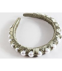 simone satin pearl lined headband in olive - olive