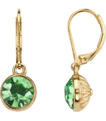 2028 14k gold-dipped period green faceted drop earrings