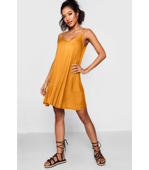 basic v neck swing dress, mustard