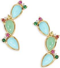 18k yellow gold, multi-stone & diamond earrings