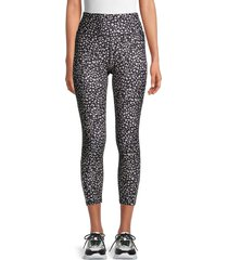 jessica simpson women's iconic printed cropped leggings - black - size xl