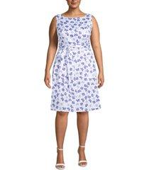 anne klein plus size floral-print belted dress