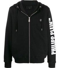 philipp plein cowboy zip-up cotton hoodie - black