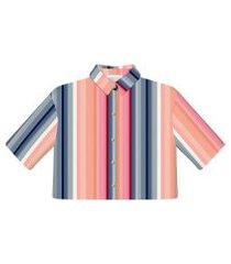 lez a lez - camisa tecido rayon cropped manga 3/4 gode