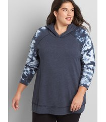lane bryant women's livi french terry hoodie - tie-dye 14/16 blue nights