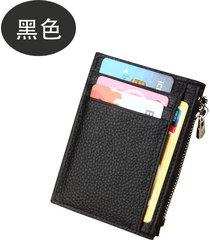 men women leather rfid debit credit card wallet business zipper coin organizer