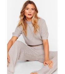 womens get on with knit wide-leg pants lounge set - grey