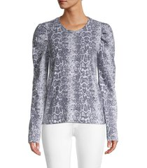 rd style women's long sleeves cotton top - snake print - size m