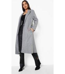 nepwollen duster jas, grey