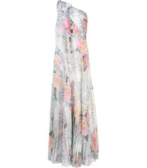 marchesa notte one-shoulder draped floral dress - white
