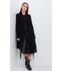 motivi cardigan lungo con frange misto lana donna nero