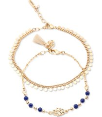 lonna & lilly gold-tone 2-pc. set disc & bead hamsa hand ankle bracelets