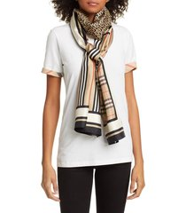 women's burberry mixed print mulberry silk scarf