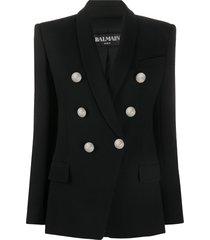 balmain button-front blazer - black