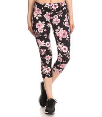 amtal women floral printed leggings capris with bottom side cross straps