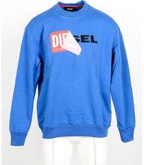 diesel designer sweatshirts, blue cotton men's sweatshirt w/signature print