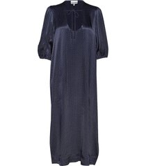 heavy satin long dress maxi dress galajurk blauw ganni