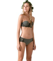 brasier strapless con copa lisa con encaje en base ref 1421v9232 copa b verde options intimate