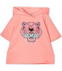 kenzo neon pink cotton blend hoodie