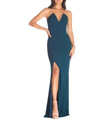 dress the population fernanda strapless evening gown, size large in pine at nordstrom