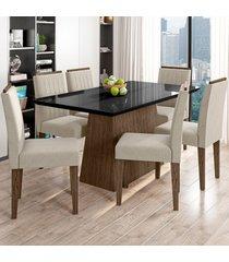 mesa de jantar 6 lugares bárbara 1147 100% mdf castanho/preto/wd22 - new ceval