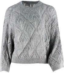 brunello cucinelli crewneck sweater with sequins in linen and cotton for a three-dimensional and shiny effect