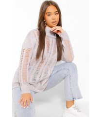 open knit high neck sweater, silver