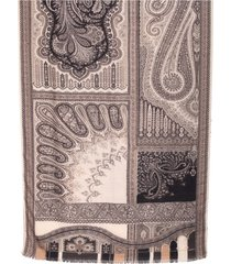 etro wool and silk scarf, decorated