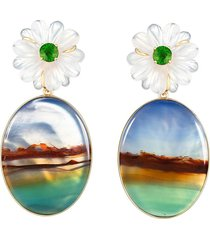 guita m 18kt yellow gold, quartz and stripe agate flower earrings -