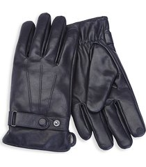 royce new york men's cashmere- lined touchscreen leather gloves - black - size xl