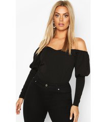 plus off shoulder puff sleeve fitted top, black