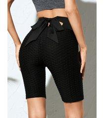 yoins shorts negros de jacquard de cintura alta con diseño de amarre recortado