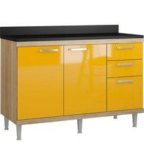 balcão 2 portas 3 gav.1200mm sicília argila-texturizada e amarelo-gema multimóveis