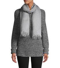 saachi women's fringe-trim scarf - silver