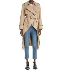 women's alexander mcqueen high/low frock trench coat, size 6 us - beige