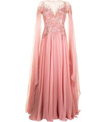 zuhair murad embellished flyaway chiffon cape gown - pink