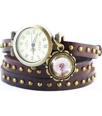 zegarek - dmuchawiec - owijany, skóra, nity