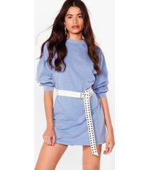 womens acid wash on the agenda sweatshirt mini dress - dark blue