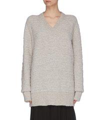 'elaine' bouclé v-neck sweater