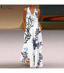 Zanzea Verano Para Mujer Verano Impreso Floral De La Playa Vestido De Las Señoras Chaleco Largo Maxi Vestidos Blanco
