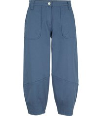 pantaloni cropped larghi in twill con cinta comoda (blu) - bpc bonprix collection