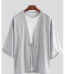 incerun cárdigan de abrigo anudado liso estilo kimono japonés retro para hombre
