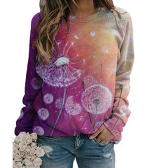 camicetta casual a maniche lunghe con stampa floreale sfumata per donna