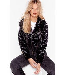 look at you shine patent faux leather jacket