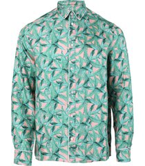 small banana leaves long-sleeve pajama shirt