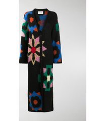 kirin floral-print long cardi-coat