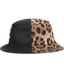 dolce & gabbana leo-print panel bucket hat