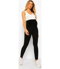 zwangerschap geribbelde gekreukelde over the bump leggings, black