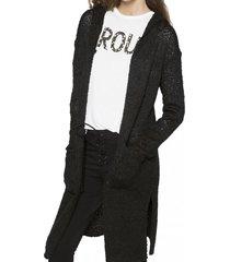 chaleco largo capucha negro 7.5 setepontocinco