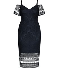 plus size women's city chic impressions lace cocktail dress, size medium - blue